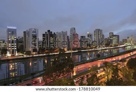 night view of the city of Sao Paulo Brazil - stock photo