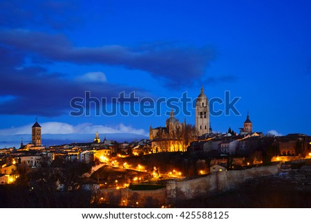 Night view of the City of Segovia (Spain)
