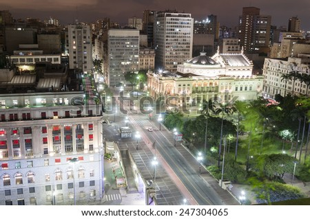 Night view of the city Sao Paulo, municipal theater and shopping light - stock photo