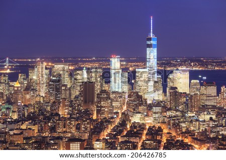 Night view of the Freedom Tower and Downtown Manhattan skyline