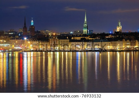 Night view of the Gamla Stan (The Old Town) in Stockholm, Sweden - stock photo