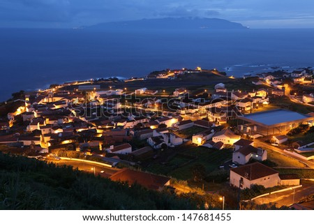 Night view of the island of Corvo Azores Portugal - stock photo