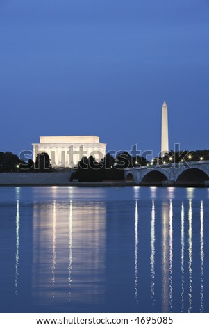 Night view of the Lincoln Memorial and Washington Monument reflected in the Potomac River. - stock photo