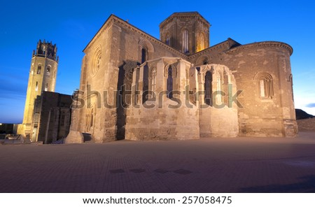 Night View of the LLeida Cathedral.Catalonia.Spain - stock photo
