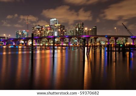 Night view of the Miami skyline - stock photo