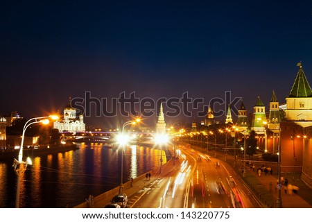 night view of the Moscow River, Kremlin, Christ the Savior Cathedral and road