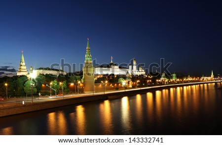 Night view of the Moskva River and Kremlin, Russia, Moscow