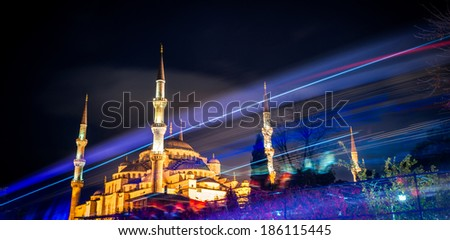 Night view of the mosque in Istanbul - stock photo