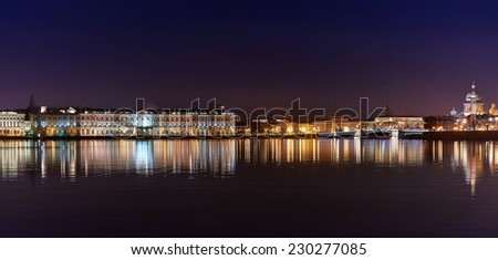 night view of the Neva river and Hermitage palace. Saint-Petersbugrg