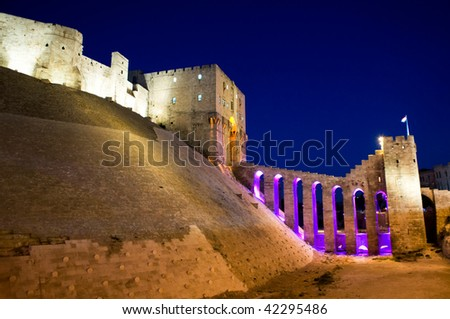 Night view of the Old Citadel of Aleppo, Syria - stock photo