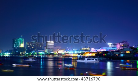 Night view of the Pattaya city, Thailand - stock photo