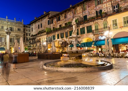 Night view of the Piazza delle Erbe in center of Verona, Italy - stock photo