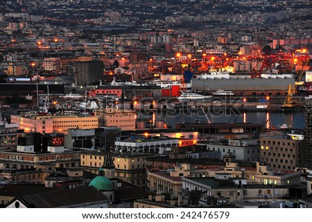 night view of the port of Naples, Italy