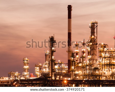 Night view of the refinery petrochemical plant in Gdansk, Poland Europe.