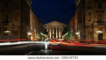 Night view of the Roman Catholic church Madelein, Paris, France - stock photo