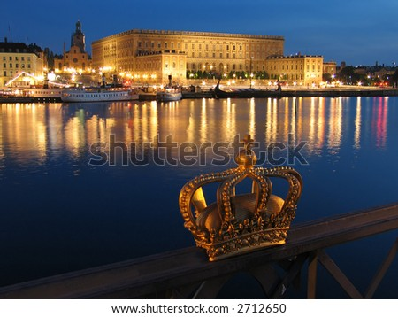 Night view of The Royal Palace in Stockholm. (Sweden)