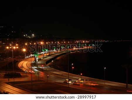 night view of the streets - stock photo