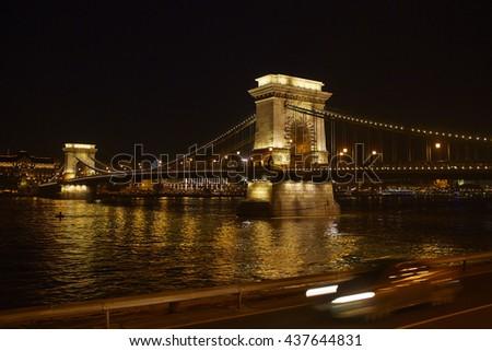 Night view of the Szechenyi Chain Bridge . Budapest, the capital of Hungary. - stock photo