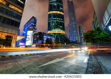 Night view of the Zhujiang New Town (the Pearl River New Town) in Guangzhou, China. Modern city traffic at night. The Guangzhou International Finance Centre, the CTF Guangzhou and other skyscrapers. - stock photo