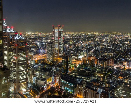 Night View of Tokyo from Tokyo Metropolitan Government Building - stock photo