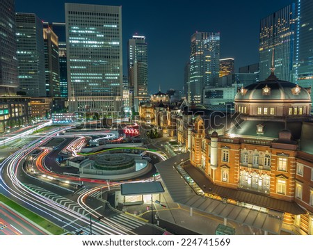 Night view of Tokyo station - stock photo