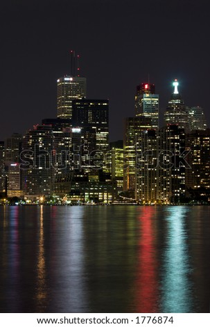 night view of toronto - stock photo