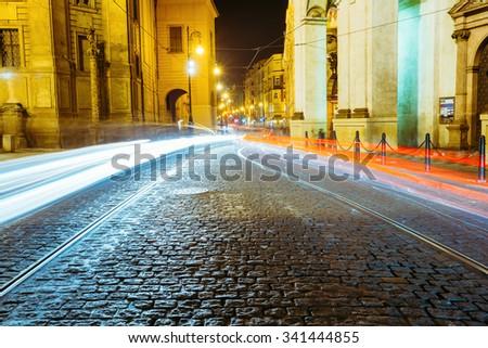 Night View of traffic lights in street in Prague, Czech Republic. - stock photo