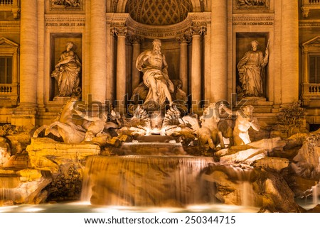 Night view of Trevi fountain in Rome, Italy - stock photo