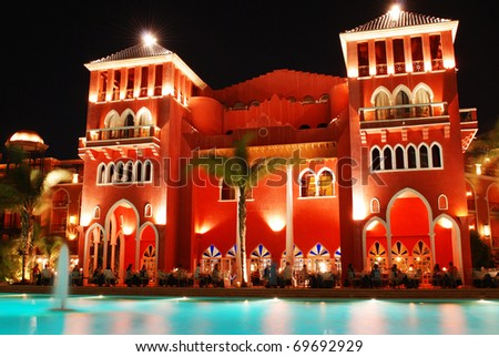 night view of tropical hotel - stock photo