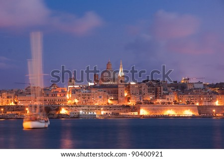 night view of Valletta at the dusk - stock photo