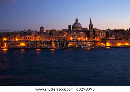 Night view of Valletta from Sliema (Malta) - stock photo