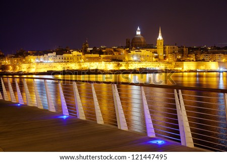 Night view of Valletta from Sliema. Valletta with Our Lady, Malta - stock photo
