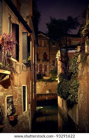 Night view of Venice - stock photo