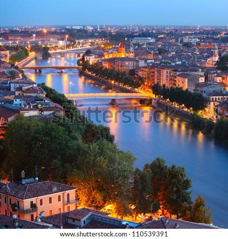 Night view of Verona city, Italy - stock photo