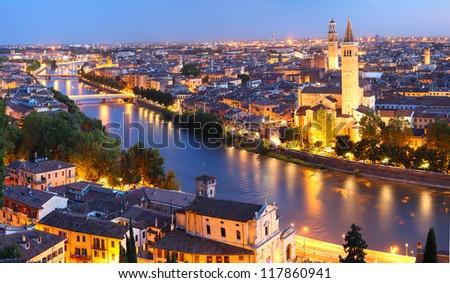 Night view of Verona city. Italy - stock photo