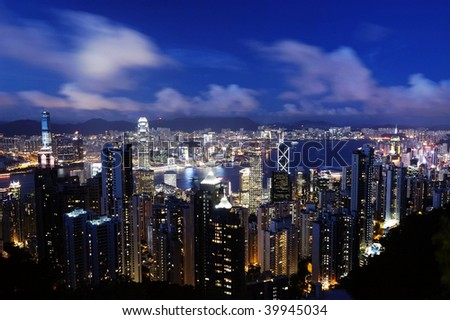 Night view of Victoria Harbour, Hong Kong