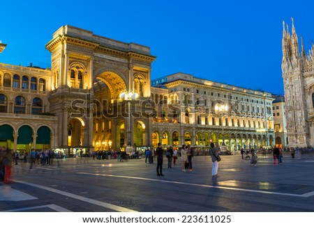 Night view of Vittorio Emanuele II Gallery and piazza del Duomo in Milan, Italy - stock photo