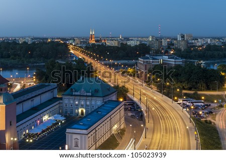 Night view of Warsaw, capital of Poland - stock photo