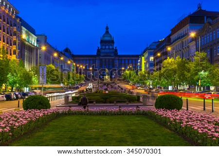 Night view of Wenceslas square and National Museum in Prague, Czech Republic - stock photo