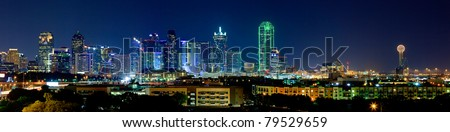 Night View on Beautiful Downtown Dallas Skyline - stock photo