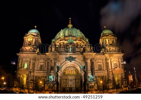 Night view on Berliner Dome, Germany - stock photo