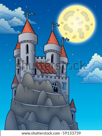 Night view on castle on rock - color illustration.