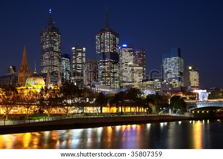 Night view on Melbourne central business district