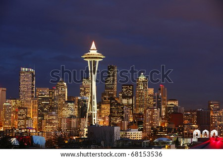 Night View on Seattle Skyline with Space Needle Tower - stock photo