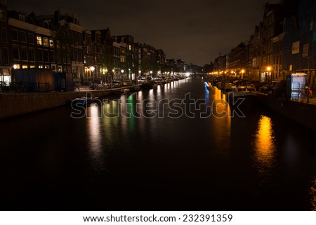 Night view on the Amsterdam canal at night in Holland
