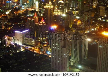 Night view on the cityscape with skyscrappers and night sky in the Bangkok