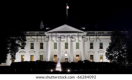 Night view on White House in Washington DC - stock photo