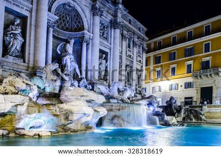 Night view over fontana di trevi in rome - stock photo