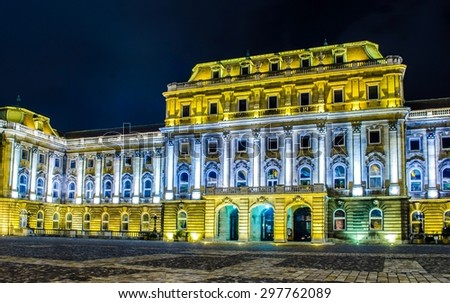 Night view over illuminated second courtyard with seat of national gallery in Buda castle complex situated in hungarian capital budapest. - stock photo