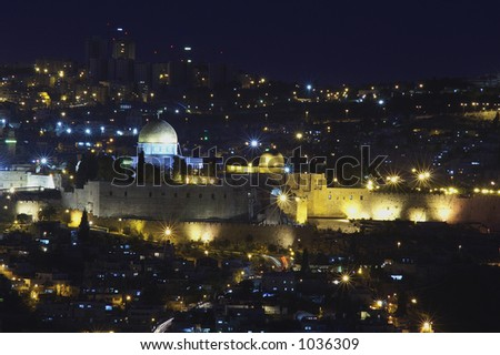 Night view over the old city of Jerusalem